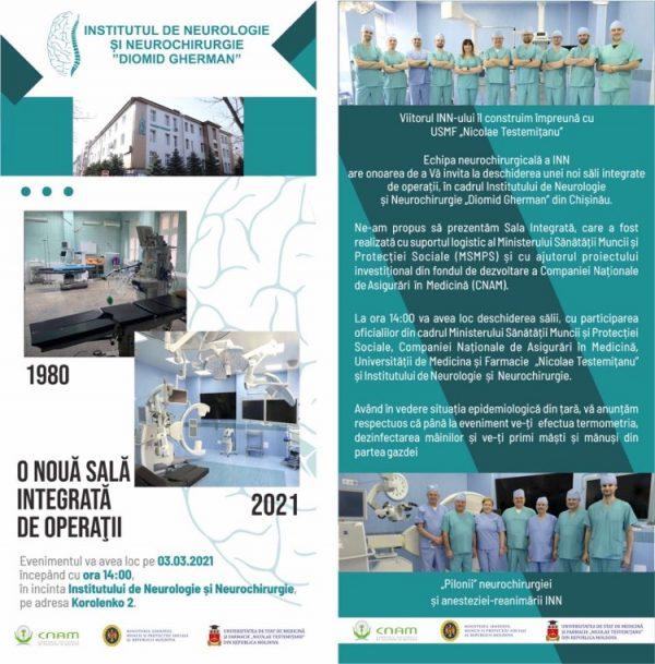 La Institutul de Neurologie și Neurochirurgie a fost inaugurată o nouă sală integrată de operaţii dotată cu aparataj medical de ultimă generaţie, care asigură o securitate aseptică în perioada pandemiei