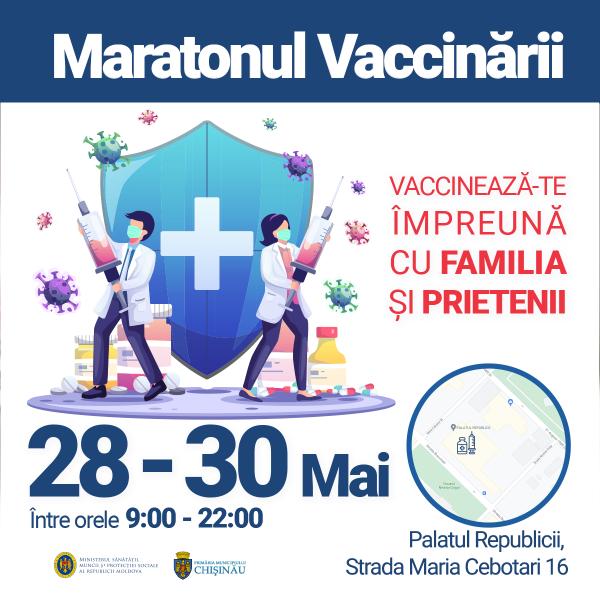 Maratonul Vaccinării împotriva COVID-19, în perioada 28-30 mai, la Palatul Republicii. Sunt așteptați toți doritorii de a se proteja de infecția COVID-19